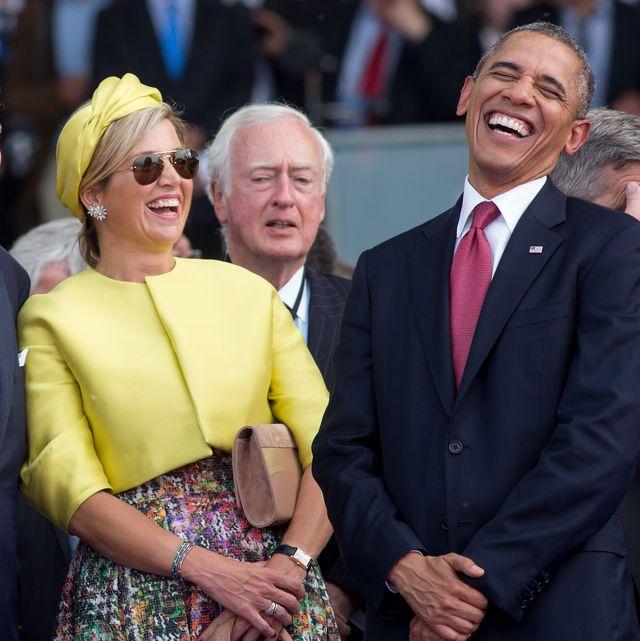 lachende koningin máxima en barack obama