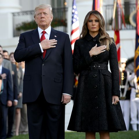 president trump and melania trump lead moment of silence for 911 victims