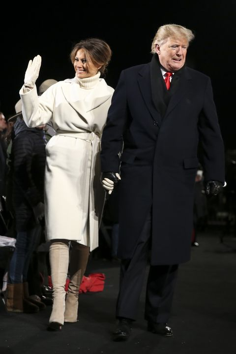 69dff87b1858 President And Mrs Trump Attend National Christmas Tree Lighting. PoolGetty  Images. The First Lady wore ...