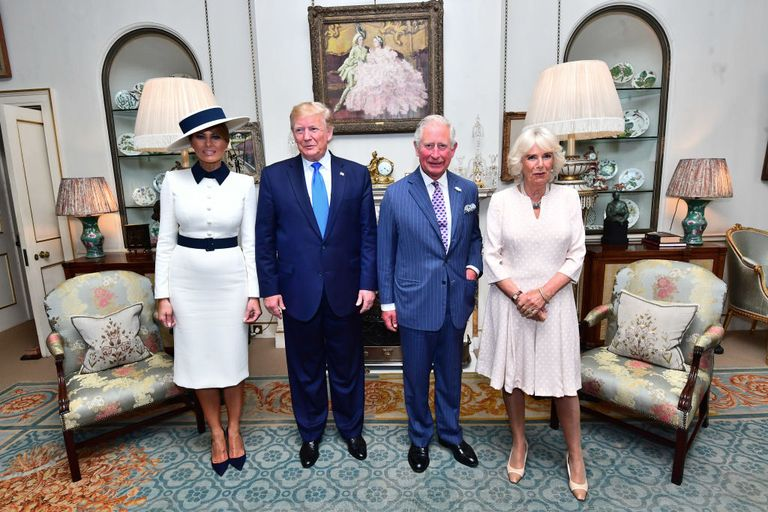 Melania Trump, Donald Trump, Prince Charles, and Camilla, Duchess of Cornwall pose inside Clarence House.
