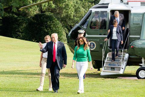 president donald trump, first lady melania trump, and barron