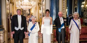queen elizabeth melania trump prince charles camilla donald trump U.S. President Trump's State Visit To UK - Day One state banquet
