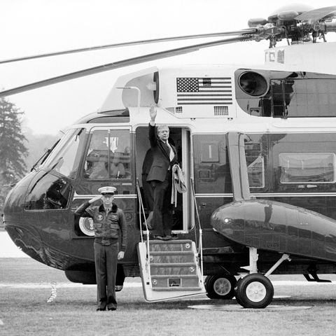 us president jimmy carter waving goodbye as he departs the white house, washington