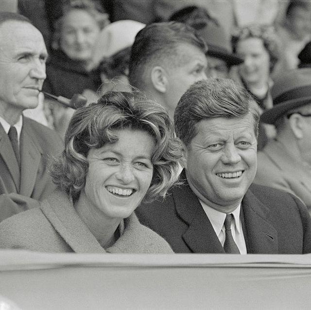 john kennedy and his sister at baseball game