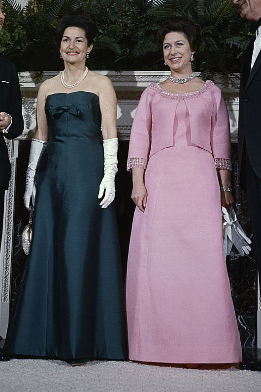 In 1965, Margaret and Antony Armstrong-Jones visited President Lyndon Johnson and Lady Bird Johnson at the White House. The Princess wore a bright pink dress with a matching jacket for the occasion, paired with a stunning necklace.