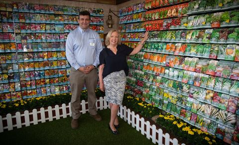 Dragon's Den's Deborah Meaden poses with David Turner of Mr. Fothergill's Seeds during press day at the the RHS Chelsea Flower Show 2018