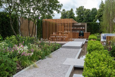 the viking friluftsliv garden designed by will williams sponsored by viking show garden rhs hampton court palace garden festival 2021 stand no 341
