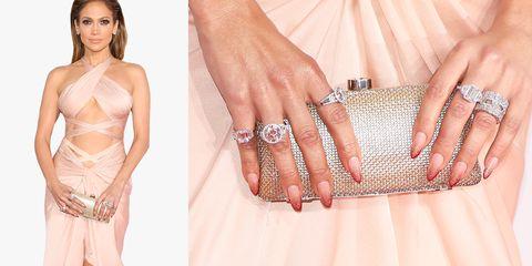 Nail, Finger, Fashion, Hand, Dress, Ring, Fashion accessory, Peach, Fashion model, Jewellery,