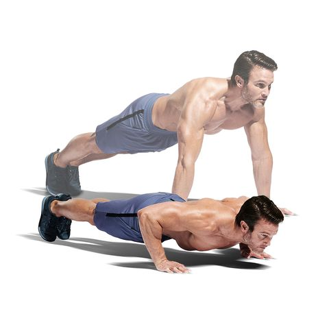 Press up, Shoulder, Arm, Fitness professional, Joint, Abdomen, Muscle, Chest, Knee, Physical fitness,