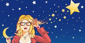 Pretty girl, Moon and Star - Vector Illustration