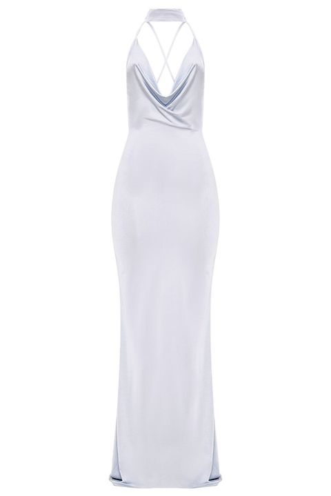 Clothing, White, Dress, Gown, Neck, Day dress, Cocktail dress, Shoulder, Sleeve, Sleeveless shirt,