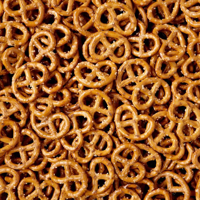 """Pretzels This one really hurts. """"Pretzels are basically made out of sugar,"""" says Cara Walsh, R.D., of Medifast Weight Control Centers of California ."""