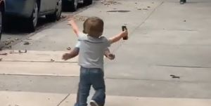 toddlers run to greet each other in adorable video
