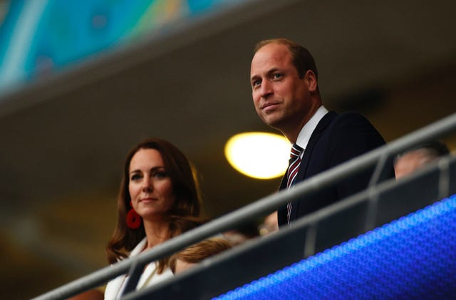 london, england   july 11 prince william, president of the football association along with catherine, duchess of cambridge look on prior to the uefa euro 2020 championship final between italy and england at wembley stadium on july 11, 2021 in london, england photo by john sibley   poolgetty images