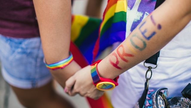 two people holding hands with rainbow bracelets and pride written on arm