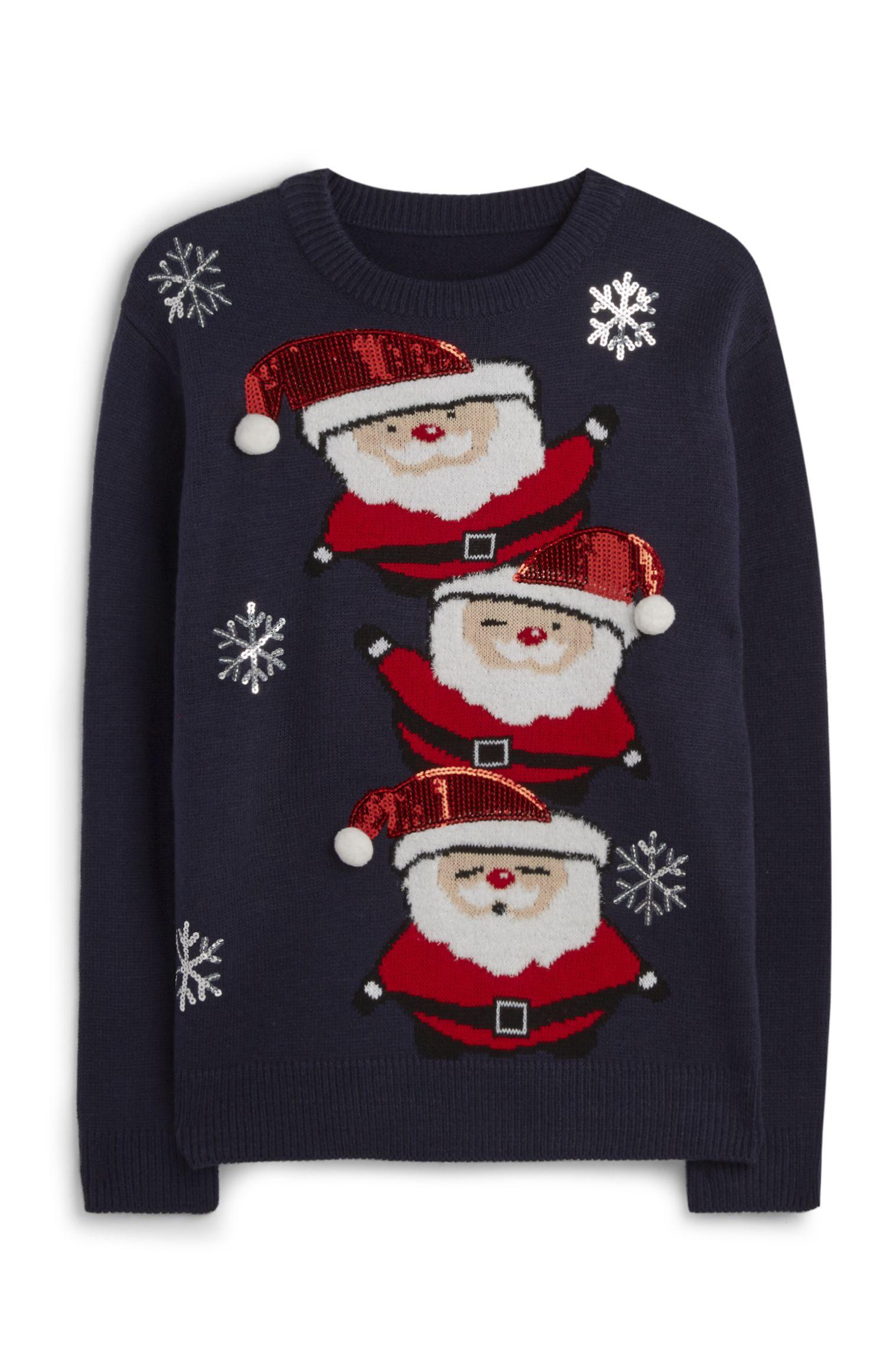 SKIING SANTA CLAUS MENS NOVELTY XMAS FATHER CHRISTMAS SWEATSHIRT JUMPER