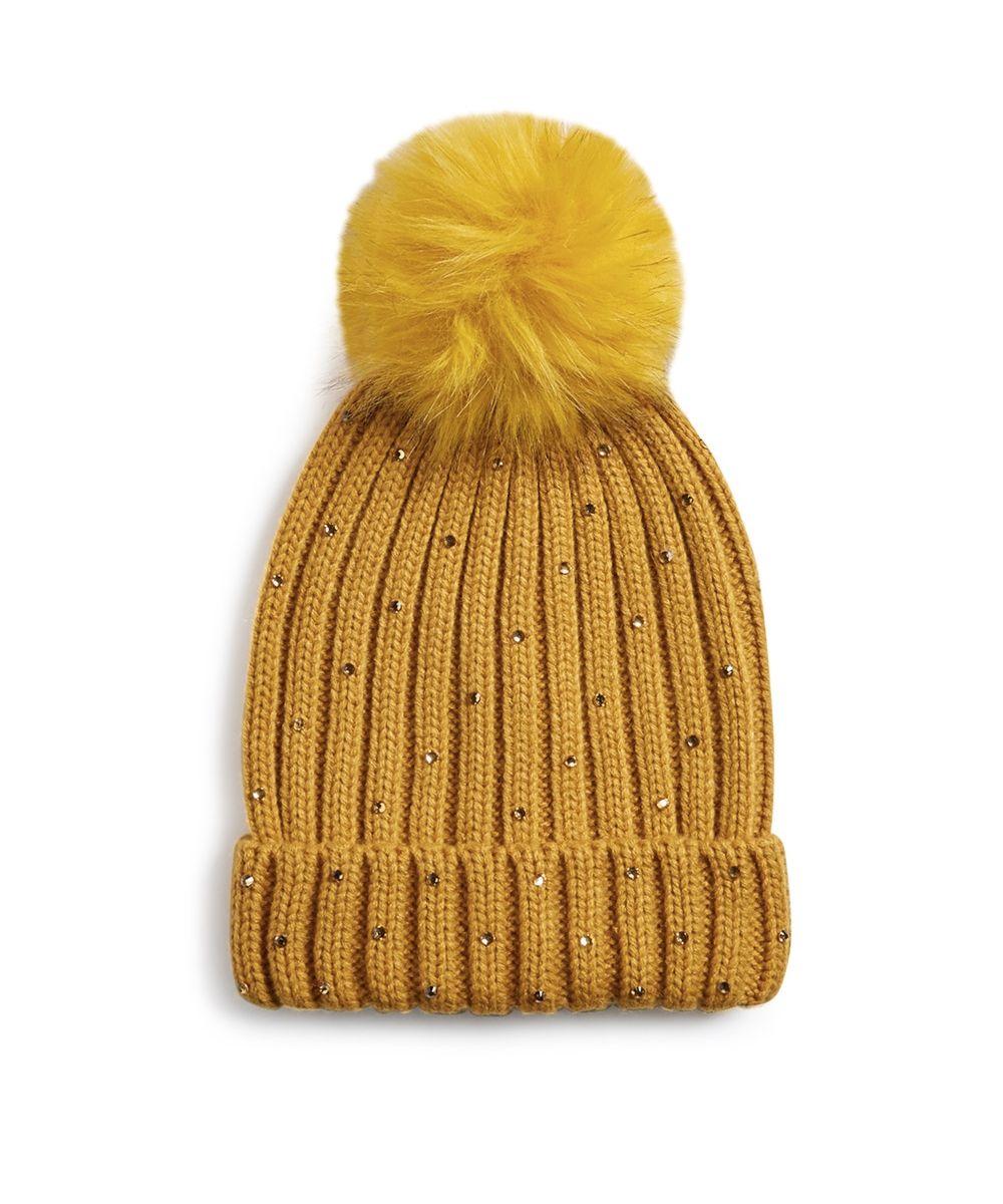 New Primark Womens Warm Mustard Embellished Beanie Fur Pom Hat Winter Cap
