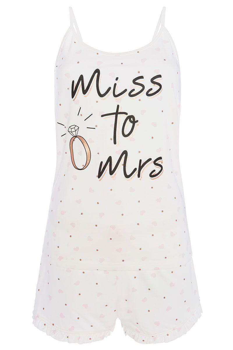 BRIDE TO BE TEAM BRIDE DISNEY Pyjama Shorts Cami Set Womens Ladies Primark