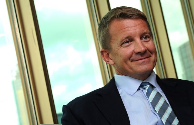 erik prince, ex blackwater boss, now is the chairman of frontier services group, talking about his businesses in africa, in admiralty 30may14 photo by bruce yansouth china morning post via getty images
