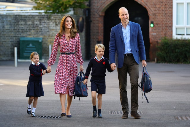 princess charlotte arrives for her first day of school at thomas's battersea in london, accompanied by her brother prince george and her parents the duke and duchess of cambridge pa photo picture date thursday september 5, 2019 see pa story royal charlotte photo credit should read aaron chownpa wire