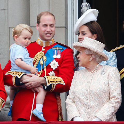 london, united kingdom   june 13 embargoed for publication in uk newspapers until 48 hours after create date and time prince william, duke of cambridge, prince george of cambridge, catherine, duchess of cambridge and queen elizabeth ii stand on the balcony of buckingham palace during trooping the colour on june 13, 2015 in london, england the ceremony is queen elizabeth ii's annual birthday parade and dates back to the time of charles ii in the 17th century, when the colours of a regiment were used as a rallying point in battle photo by max mumbyindigogetty images