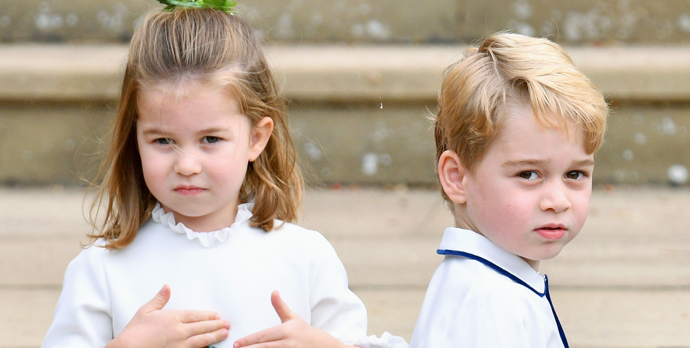 Prince George and Princess Charlotte at Princess Eugenie and Jack Brooksbank's wedding