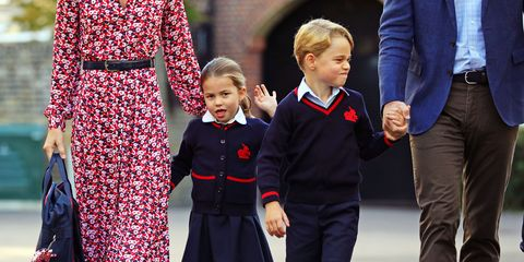 london, united kingdom   september 5 princess charlotte, waves as she arrives for her first day at school, with her brother prince george and her parents the duke and duchess of cambridge, at thomas's battersea in london on september 5, 2019 in london, england photo by aaron chown   wpa poolgetty images