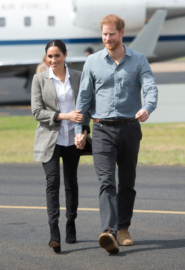 The Duchess of Sussex first wore her Harriet jeans on the second day of her Australia, Fiji, and New Zealand tour with Prince Harry, pictured here on October 17, 2018 in Dubbo, Australia.