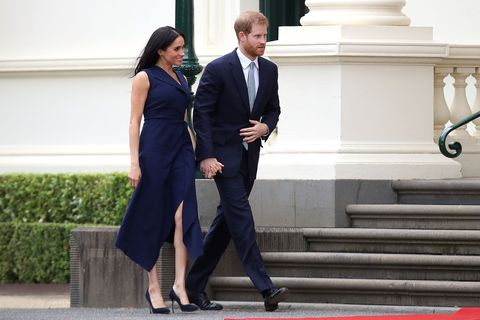 Meghan Markle Wears Navy Dress In Melbourne During