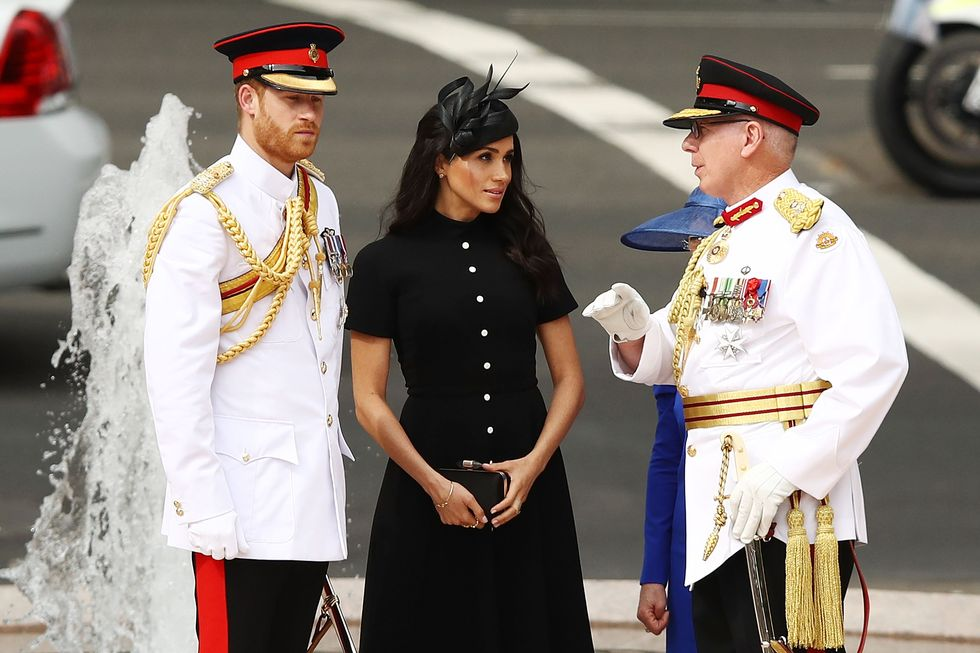 Meghan Markle Wears Black Emilia Wickstead Dress With Prince Harry for the Anzac Memorial Opening on Day 5 of Tour