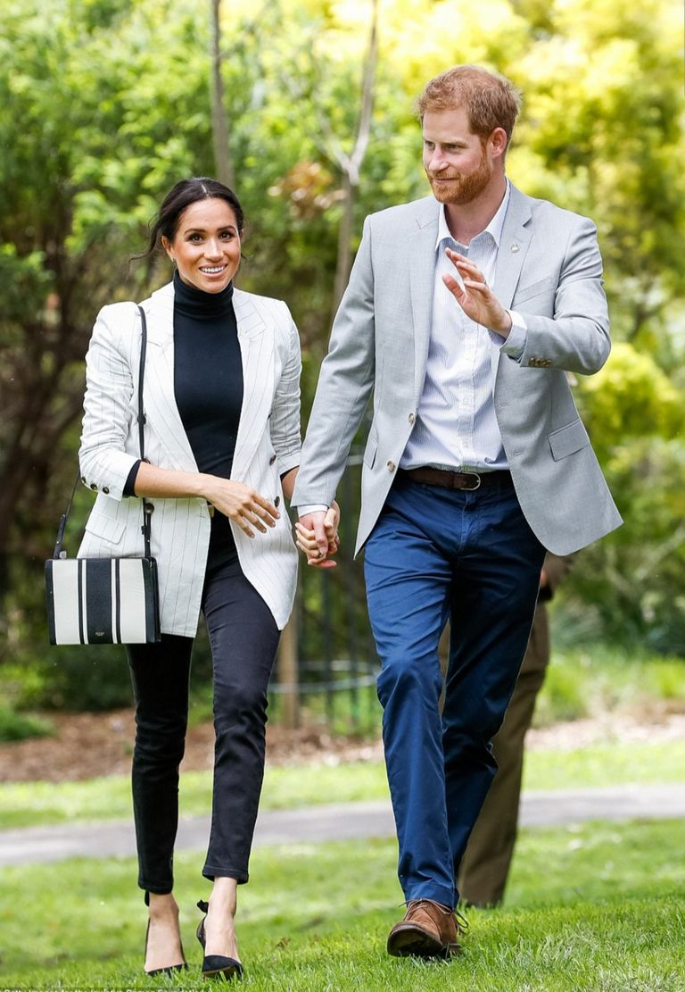 The Duchess of Sussex wearing her Outland Denim Harriet jeans in Sydney, Australia on October 21, 2018.
