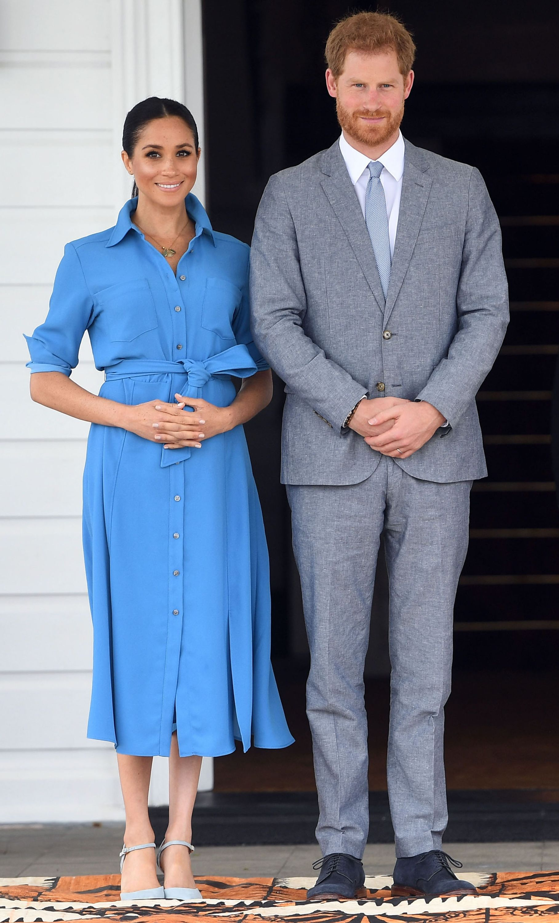 The Duchess changed for her afternoon engagements into a blue dress by Veronica Beard paired with blue heels by Banana Republic. SHOP NOW Madison 12-Hour Side Cut-Out Pump, $89.50