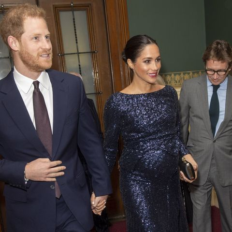 bd1aa7bb Meghan Markle Steps Out in a Sparkly Roland Mouret Dress With Prince Harry  to See Cirque du Soleil