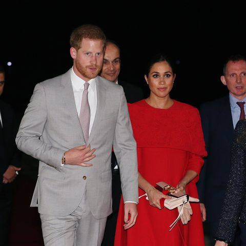 9cb13d0d39e Meghan Markle Arrives in Morocco Wearing the Most Stunning Valentino Cape  Dress