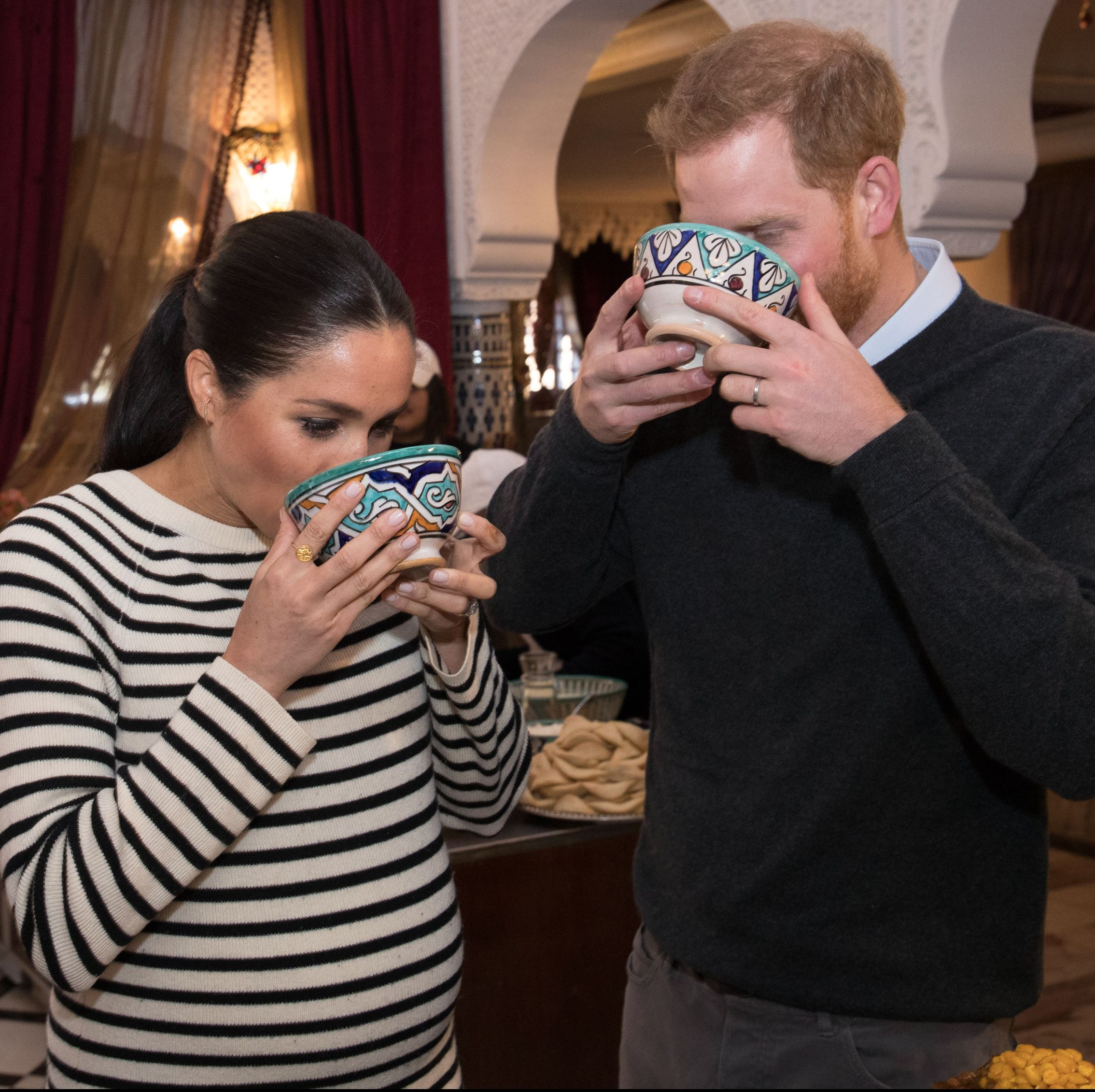 The Duke and Duchess of Sussex attend a cooking demonstration in Rabat, Morocco on February 25, 2019.