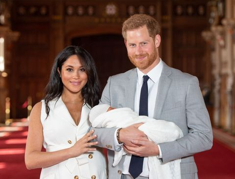 the Duchess of the Duchess of Sussex poses with her newborn son
