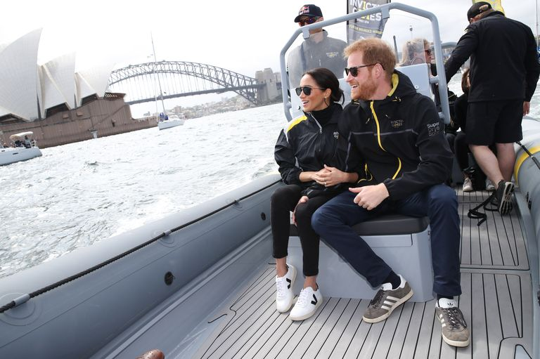 Meghan Markle pictured wearing Outland denim during day two of the Invictus Games in Sydney, Australia on October 21, 2018.