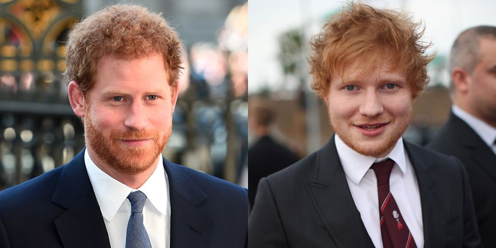 Prince Harry and Ed Sheeran Basically, if you're a redheaded Brit, people are going to think you're Ed Sheeran—even if you're actually royalty. Margot Robbie even confused Harry for Ed at a party once.