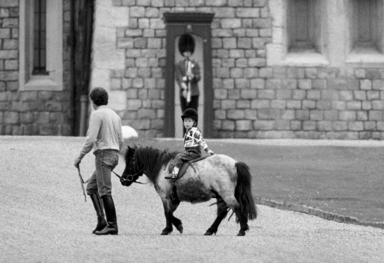 Prince Harry riding a pony at Windsor Castle