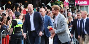 British princes on walkabout of Windsor before royal wedding