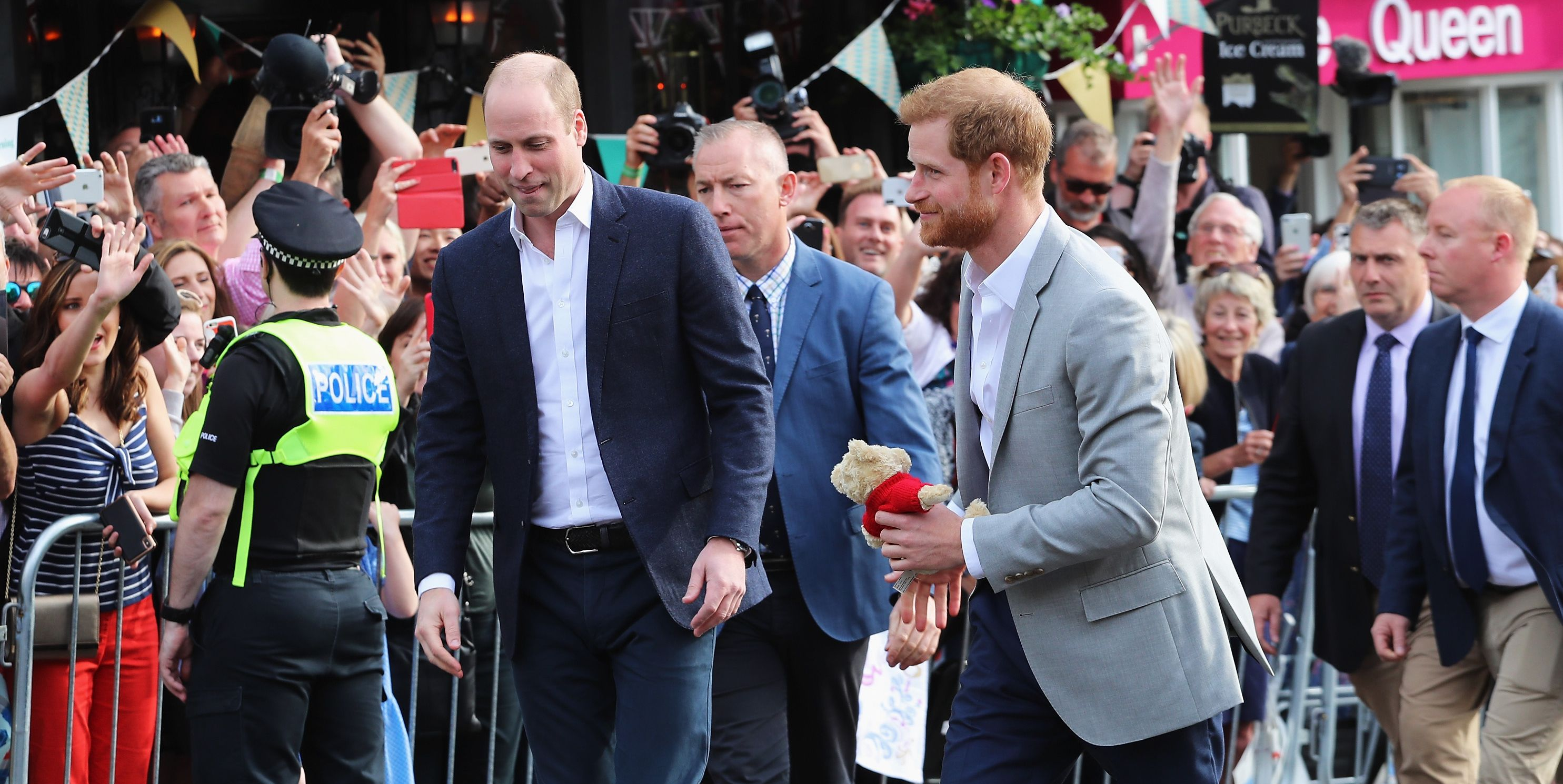 Britishprinces on walkabout of Windsor before royal wedding
