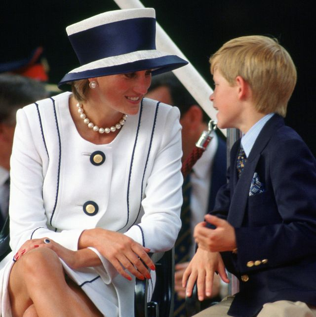 prince harry talks to his mother, diana, princess of wales w