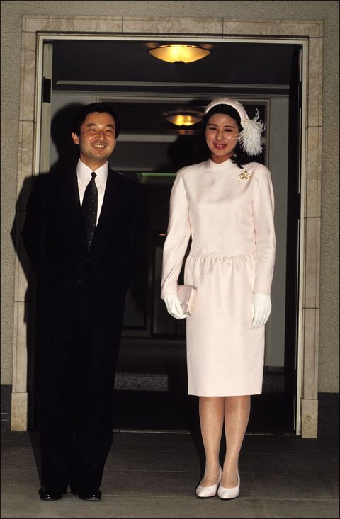 prince naruhito and masako owada at togu palace in tokyo, japan on april 28, 1993