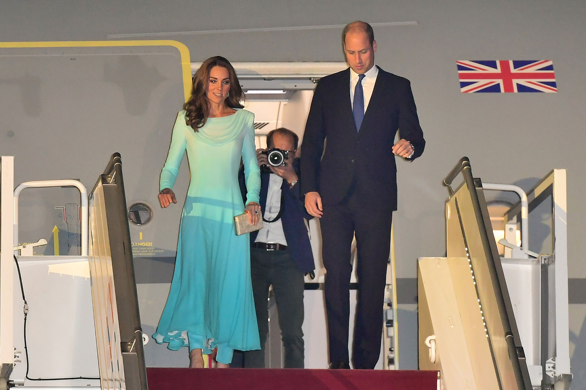 Duchess Kate Lands in Pakistan Wearing an Elegant Light Blue Dress and Pants