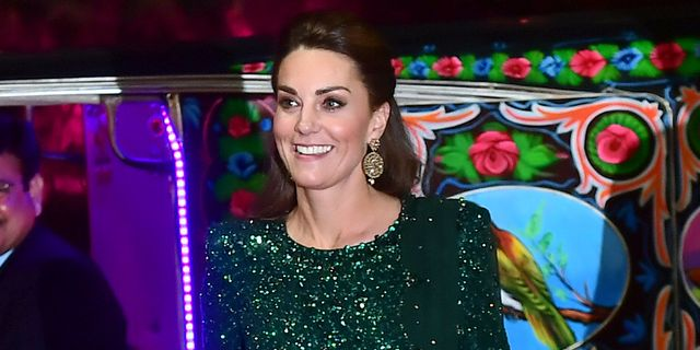Kate Middleton Wears a Glittering Green Gown for a Reception at Pakistan's National Monument