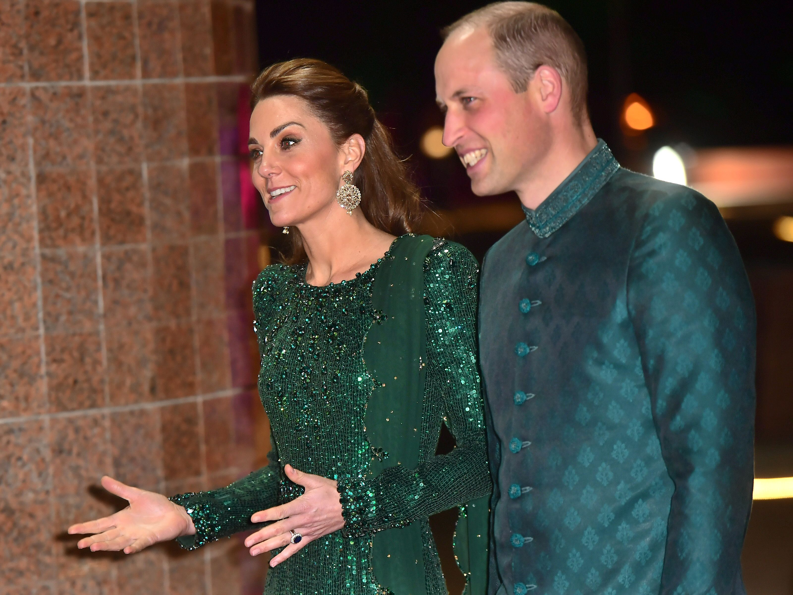 Kate Middleton Finishes Off Her First Full Day in Pakistan Wearing a Sparkly Green Dress