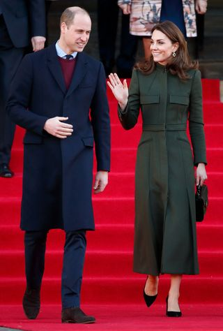 kate wearing the coat in bradford in january 2020