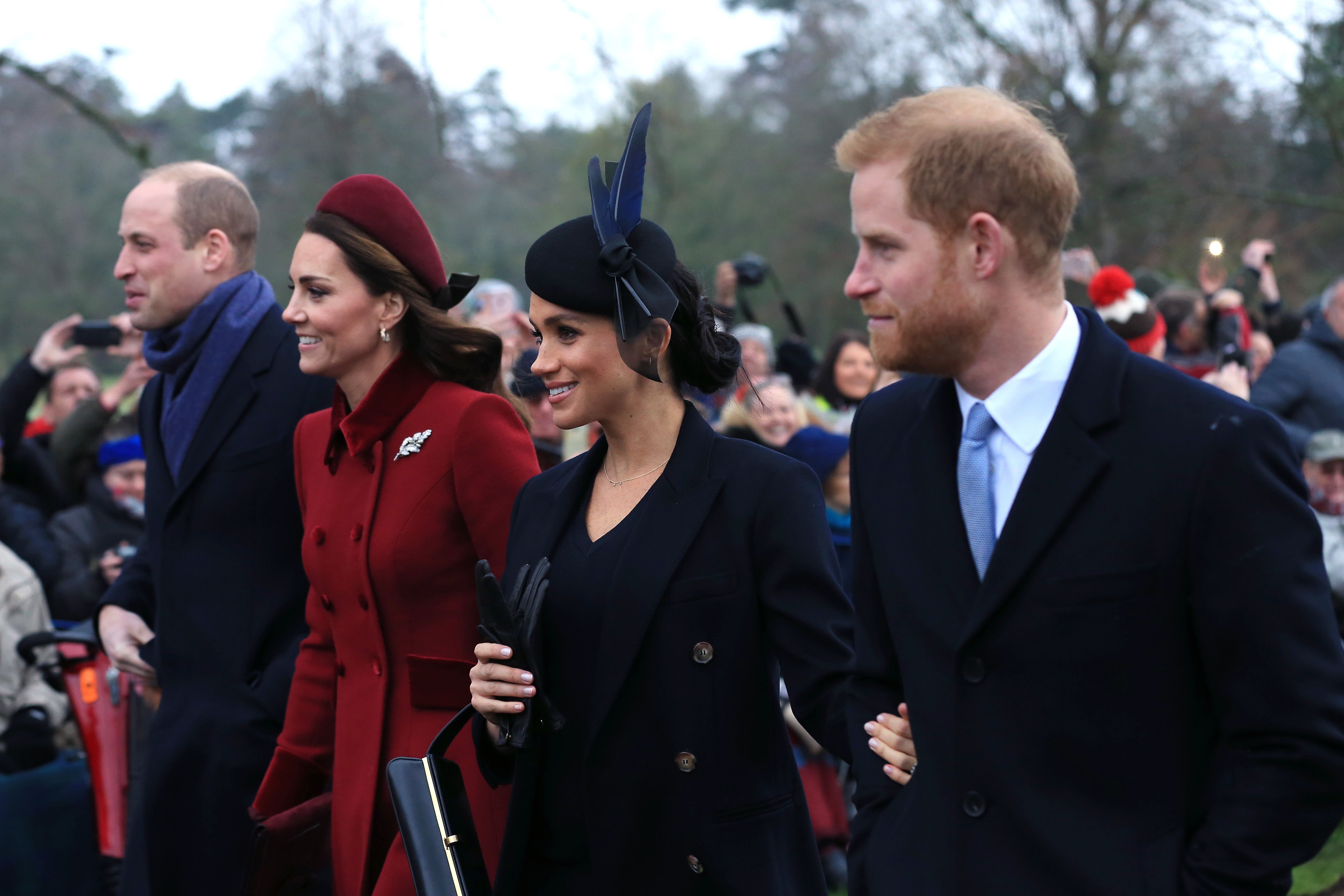The Cambridges and the Sussexes on Christmas Day in 2018.
