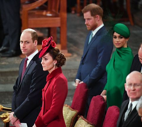 prince william, kate middleton, meghan markle, and prince harry during the duke and duchess of sussex's last event as working royal family members