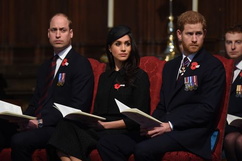 prince william, prince harry and meghan markle attend anzac day services